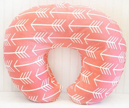 Coral Arrow boppy cover is made to fit the standard Boppy Bare Naked Pillow. Remove slipcover for easy washing. Coordinate with our Wanderlust in Coral Baby Bed