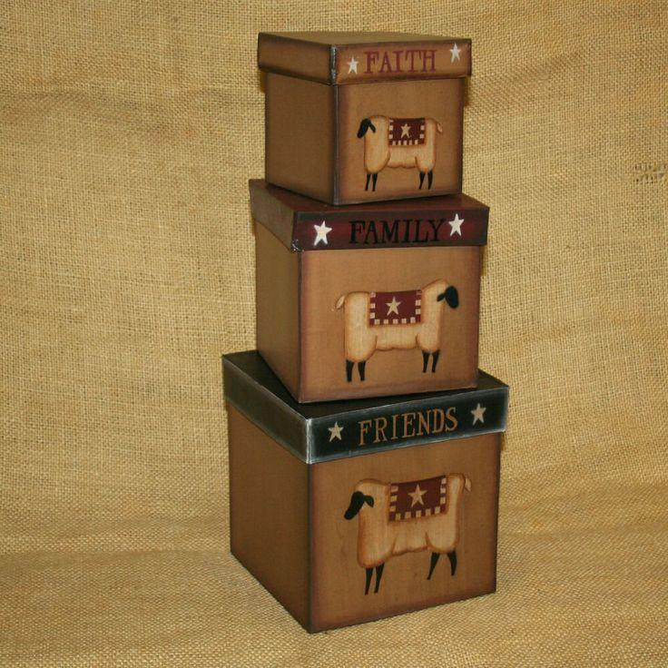 Decorative Stackable Boxes 179 Best Primitive Boxes Nesting Boxes Images On Pinterest