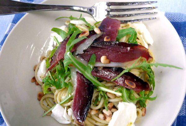 Pasta Recipe: Spaghetti with Pesto and Dried Duck Breast image   eatwell101.com