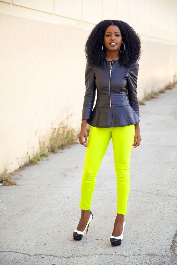 Leather Jacket + Peplum Blouse + Neon Jeans