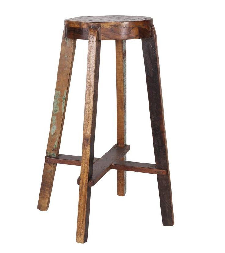 Beton Keuken.Nl : LEF collections Barkruk 'Inca' houten bar stoel 52x52x76cm – Kitchen
