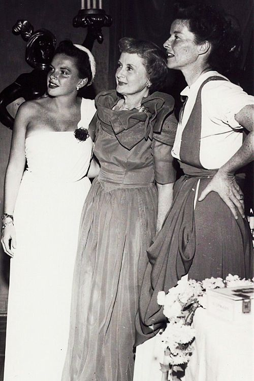 Judy Garland, Billie Burke (who played Glinda in the Wizard of Oz), and Katharine Hepburn