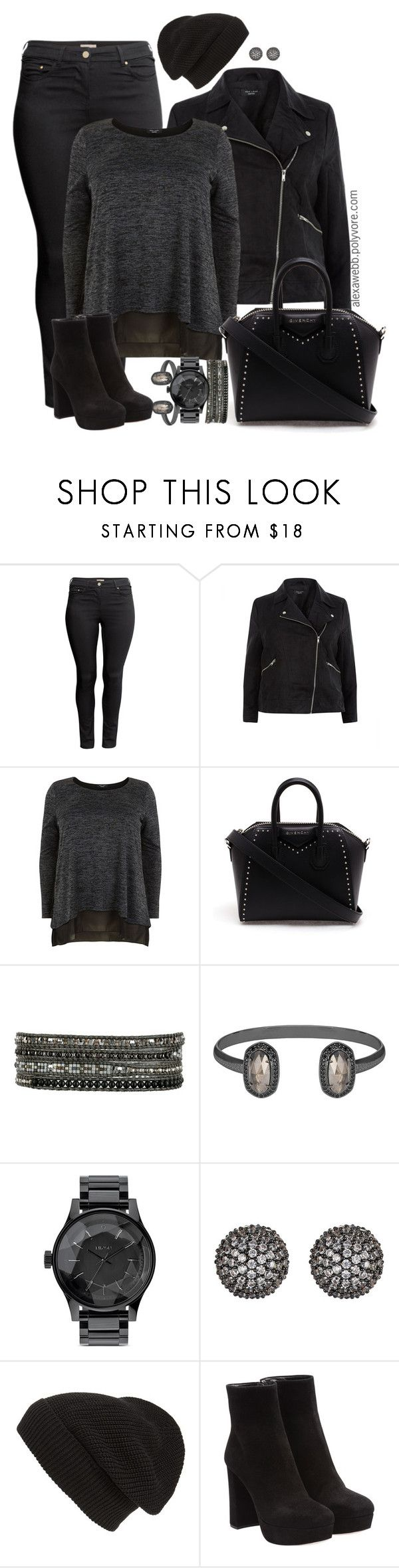 """""""Plus Size - All Black Everything"""" by alexawebb ❤ liked on Polyvore featuring H&M, Givenchy, Chan Luu, Kendra Scott, Nixon, Fallon, Phase 3, Miu Miu, outfit and plussize"""