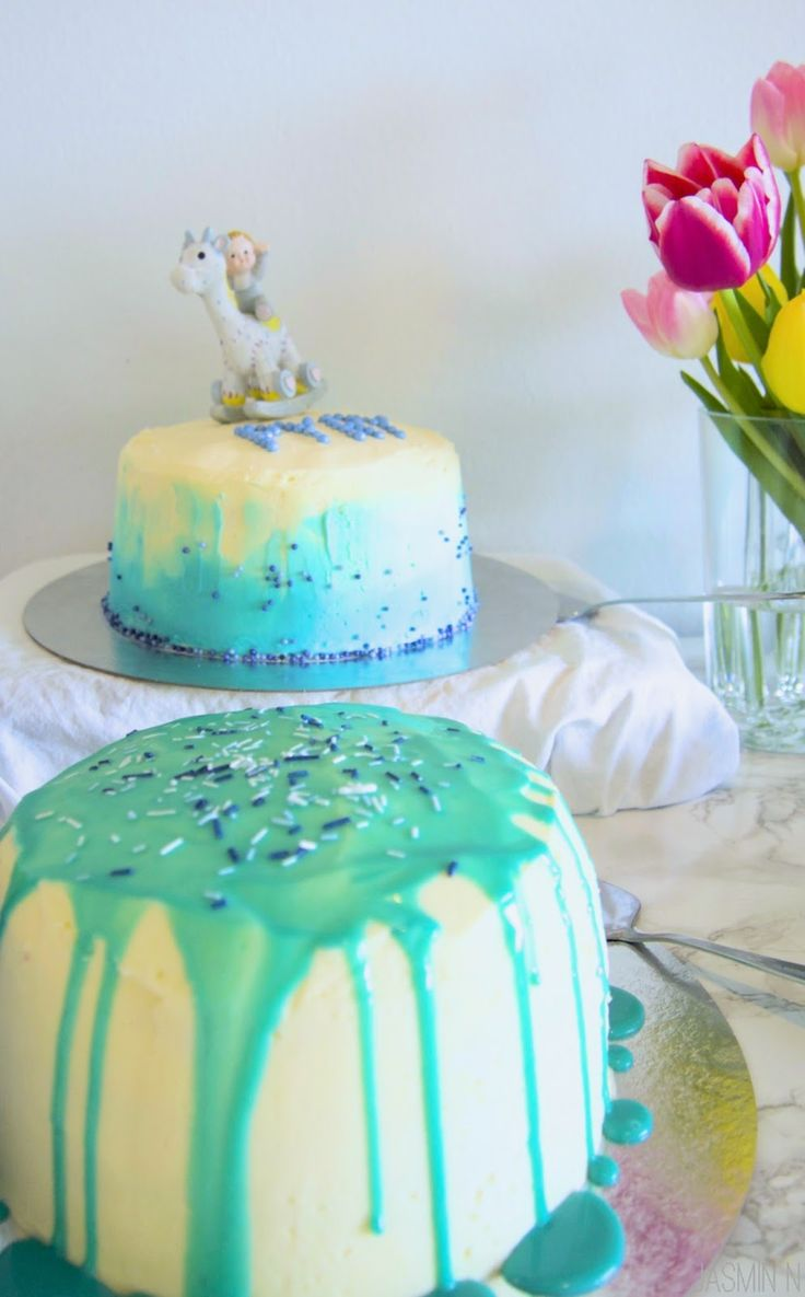 LITTLE THINGS WITH JASSY: CHOCOLATE CAKE WITH BABY BLUE WHITE CHOCOLATE GANA...