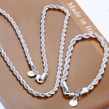 wholesale 925 Sterling Silver jewelry,925 rope chains necklace +bracelet jewelry set, Free Shipping(China (Mainland))
