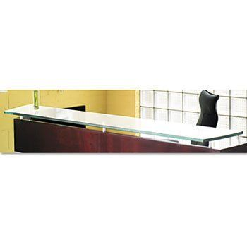 """NEW - Napoli Series Glass Reception Counter, 87?w x 14d, Frosted - NRDC by Mayline. $687.90. Combines clean, modern lines with a wide selection of storage options. Thick 3/4"""" tempered glass adds class and professionalism. Top, End Panels and Counter sold and shipped separatelyÂ-ORDER ALL THREE. Color: Frosted Glass; Overall Width: 86 1/2""""; Overall Depth: 15 1/4""""."""