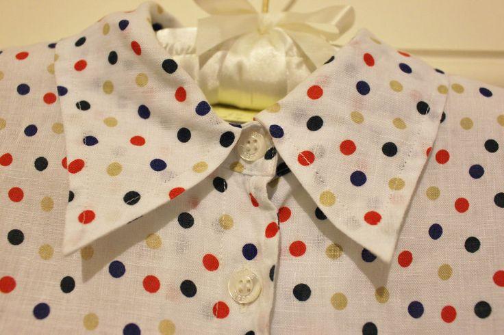 Women HOBBS SHIRT BLOUSE linen polka dots / spots  size 10 / S / M Excellent
