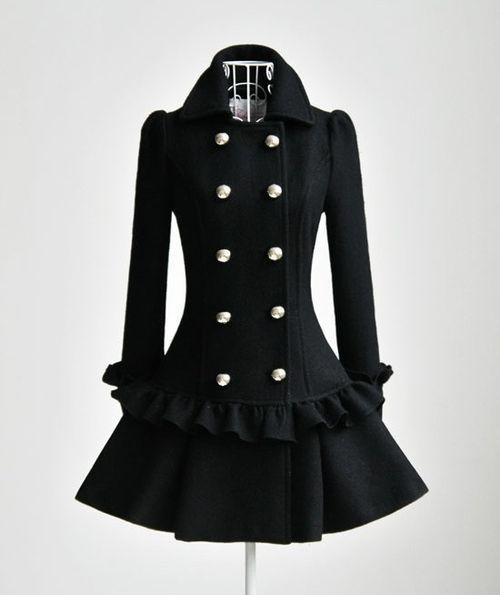 Love!: Cute Coats, Black Coats, Style, Dresses, Jackets, Closet, Winter Coats, Wool Coats, Ruffles
