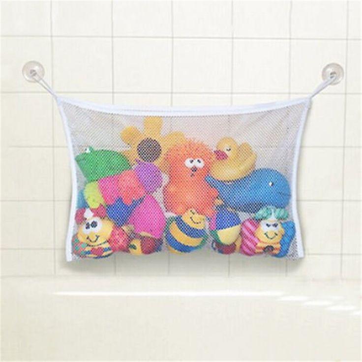 2016 New Arrival Transparent Baby Bath Toy Storage Suction Cup Bag Mesh  Bathroom Organiser Net #