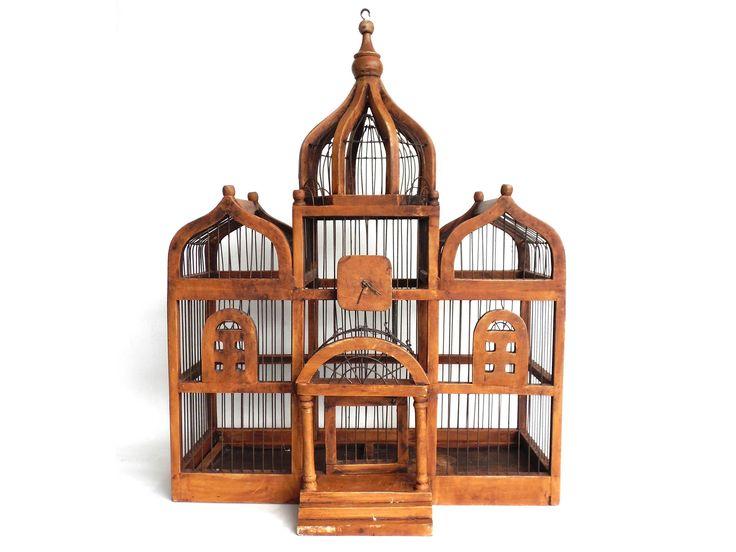 Bird Cage, Antique Wooden Bird Cage, Antique French Home Decor, Antique Bird Cage.