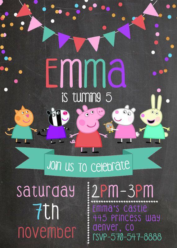 Invitación de cumpleaños Peppa Pig Peppa Pig por DigitalDesigns3