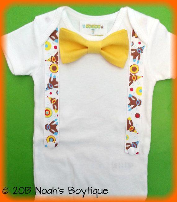 Sock Monkey Birthday Outfit  First Birthday Boy  by NoahsBoytiques, $16.00
