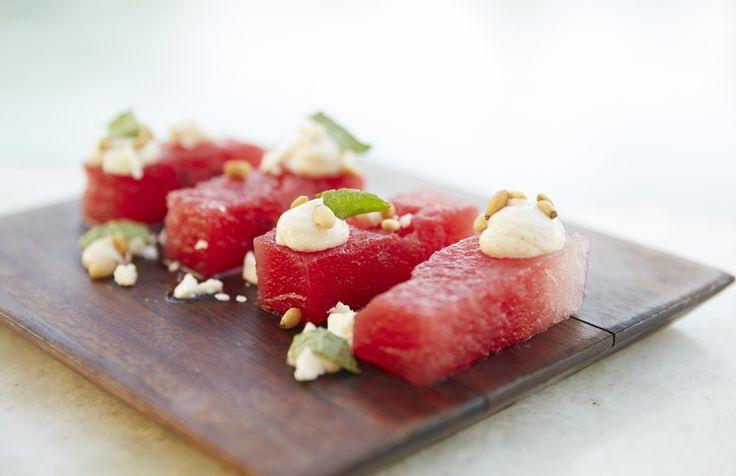 Watermelon salad at the Belvedere Club, Belvedere Hotel Mykonos. Photo credits: John Russo