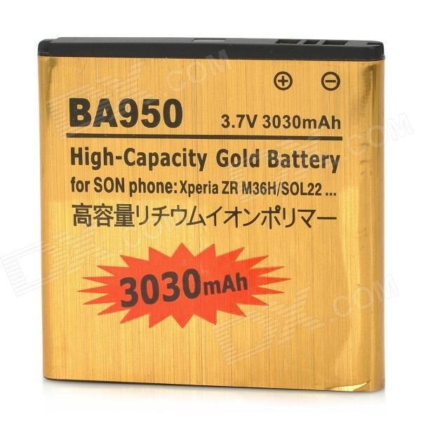 Brand: N/A; Quantity: 1 Piece; Color: Golden; Compatible Models: Sony Xperia ZR/ M36h/ C5502/BA950; Battery Type: Li-ion; Capacity: 3030 mAh; Voltage: 3.7 V; Packing List: 1 x Battery; http://j.mp/1Au4Bfg
