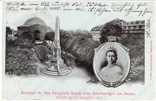 Postkarte mit dem Alice-Denkmal in Darmstadt, um 1902 Einweihung des Denkmals für Großherzogin Alice in Darmstadt, 12. September 1902