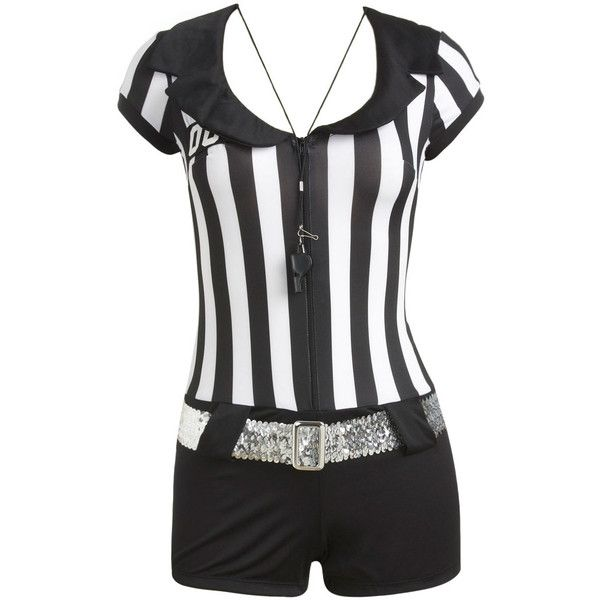 Wet Seal ($9.99) ❤ liked on Polyvore featuring costumes, tops, dresses, shorts, wwe, ladies halloween costumes, lady halloween costumes, womens referee halloween costume, wet seal halloween costumes and womens referee costume