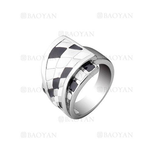 anillo diseno nuevo negro con blanco en acero plateado inoxidable para mujer -SSRGG161955