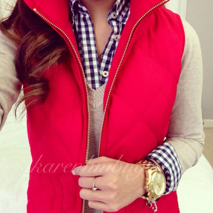 Best 25 red vest ideas on pinterest red puffer vest for Plaid shirt under sweater