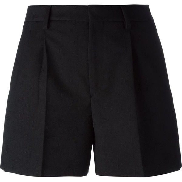Saint Laurent pleated shorts (£485) ❤ liked on Polyvore featuring shorts, bottoms, short, pants, black, short shorts, yves saint laurent, pocket shorts, pleated shorts and wool shorts