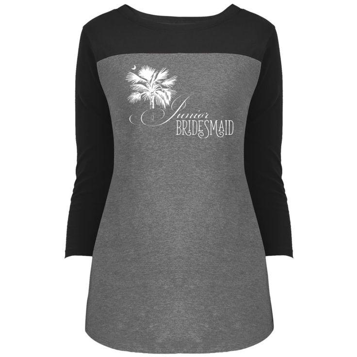 Junior Bridesmaid Palmetto Moon White 3/4 Sleeve T-Shirt