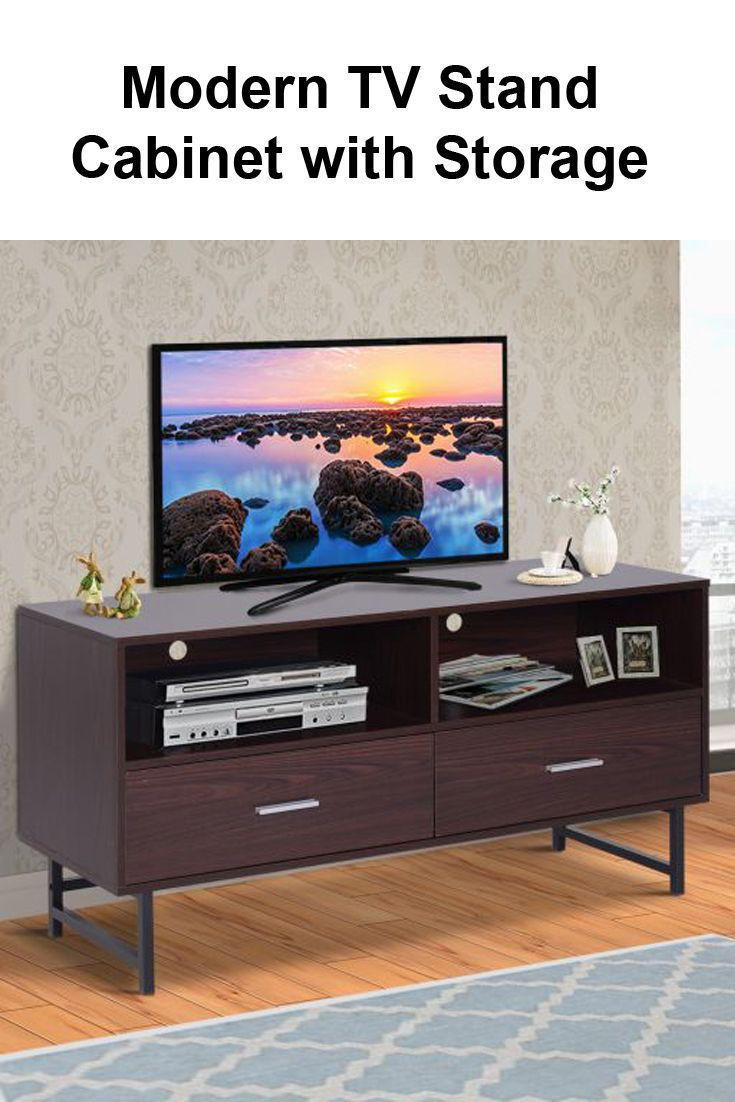 Tv Stand With 2 Drawers And Shelves 47 Wood Grain Modern Cabinet