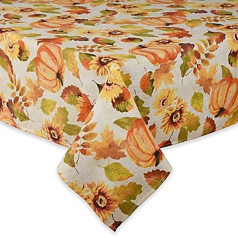 Harvest Medley Tablecloth:  transitional print with multicolor warm, earthy tones, leaves, sunflowers, and pumpkins