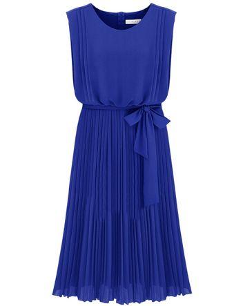 Blue Sleeveless Back Zipper Belt Pleated Dress