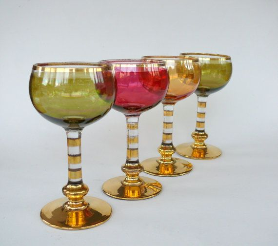 4 Coloured Wine Glasses with Gold Rims Coloured by FrenchCandy
