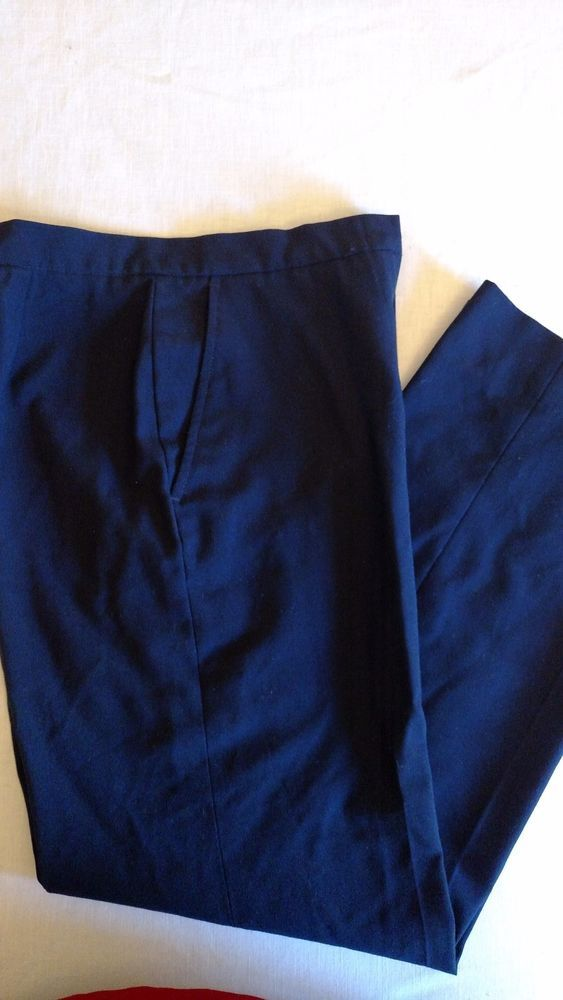 Dress Slacks Women's Navy Blue Zip Front Side Pockets #Unbranded #DressPants