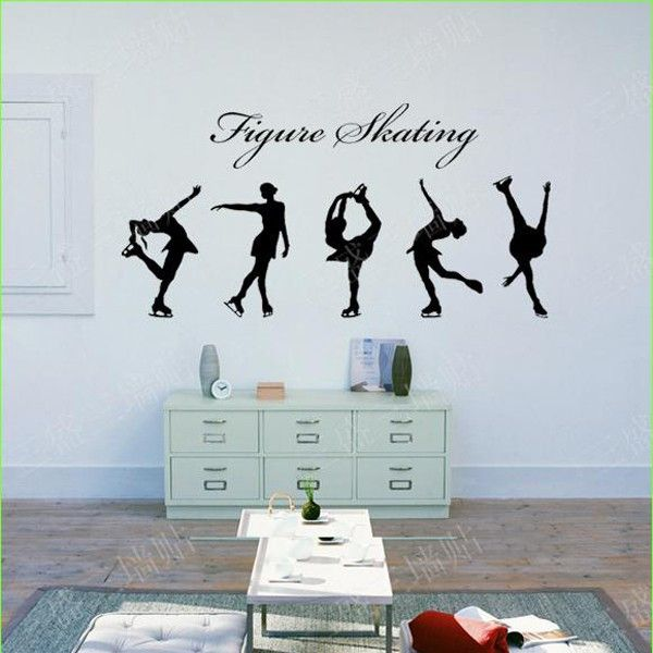 Figure skating girls wall stickers 5 pieces girls violin and patterns for Stickers para dormitorios