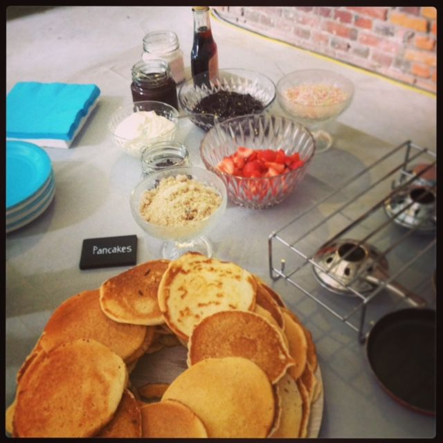 Pancake buffet. Ideal for a childrens birthday party.