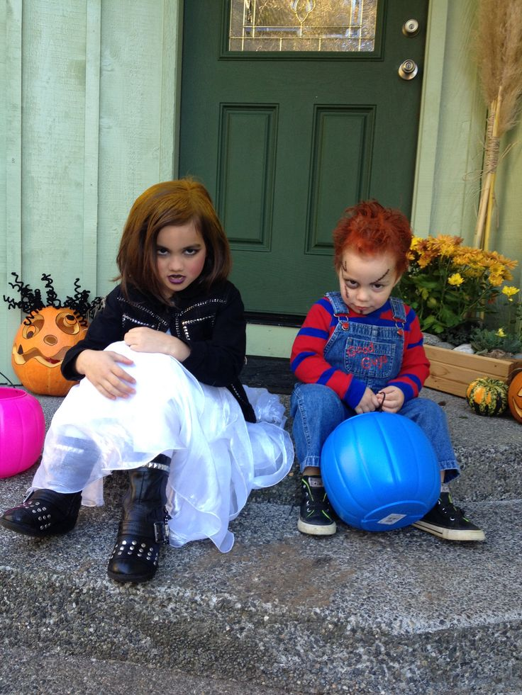I nailed it!! Chucky and Bride of Chucky Halloween Costumes for kids 2013