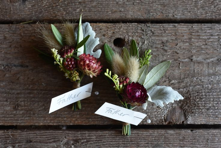 Buttonholes, Boutonnieres, summer flowers, January, strawflower, Lisianthus, Summer Wedding, Bunny Tails, grasses, Blackberries, Dusty Miller