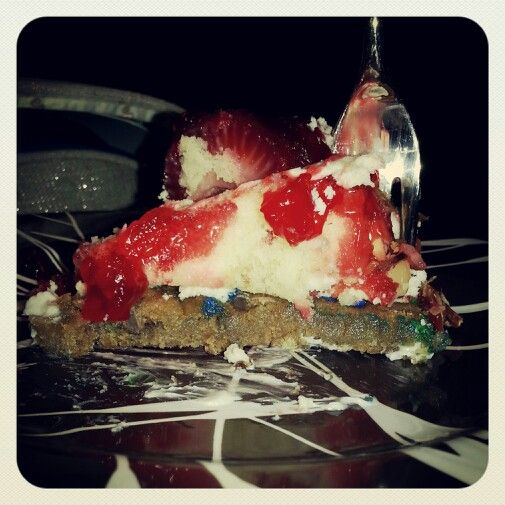 Strawberry cheesecake with cookie cake crust. Super easy to make: 1st ...