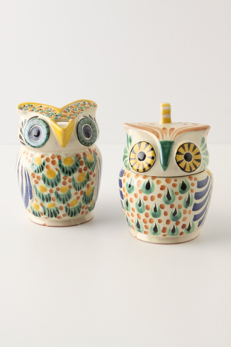 Yellow sugar bowls with lids - Owl Creamer And Sugar Bowls Anthropologie