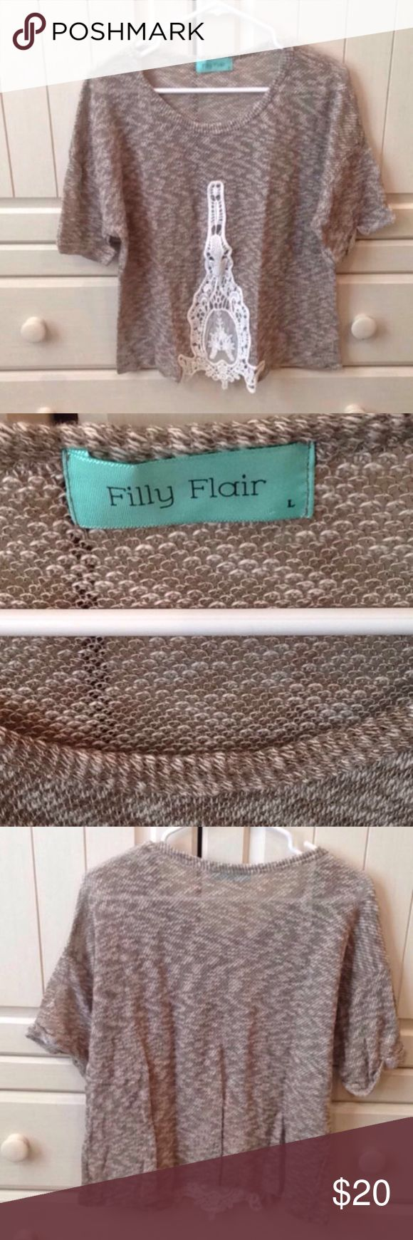 NWOT Lace detailed shirt Cute shirt from Filly Flair. Great condition. NWOT Filly Flair Tops Tees - Short Sleeve