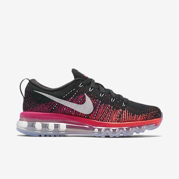 chaussure de running pas cher nike flyknit air max pour femme noir rose métallique