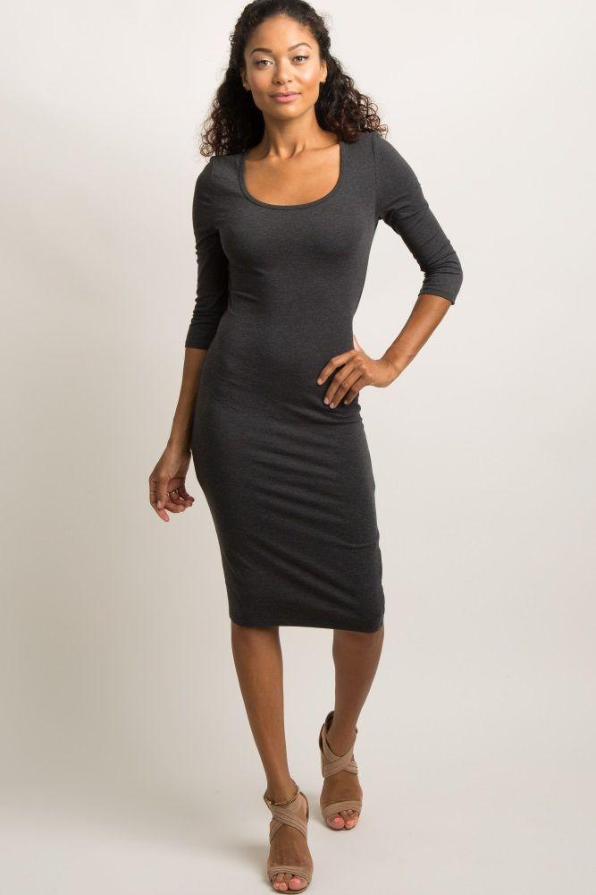 Maternity Striped 3/4 Sleeved Midi Dress   Boohoo UK in
