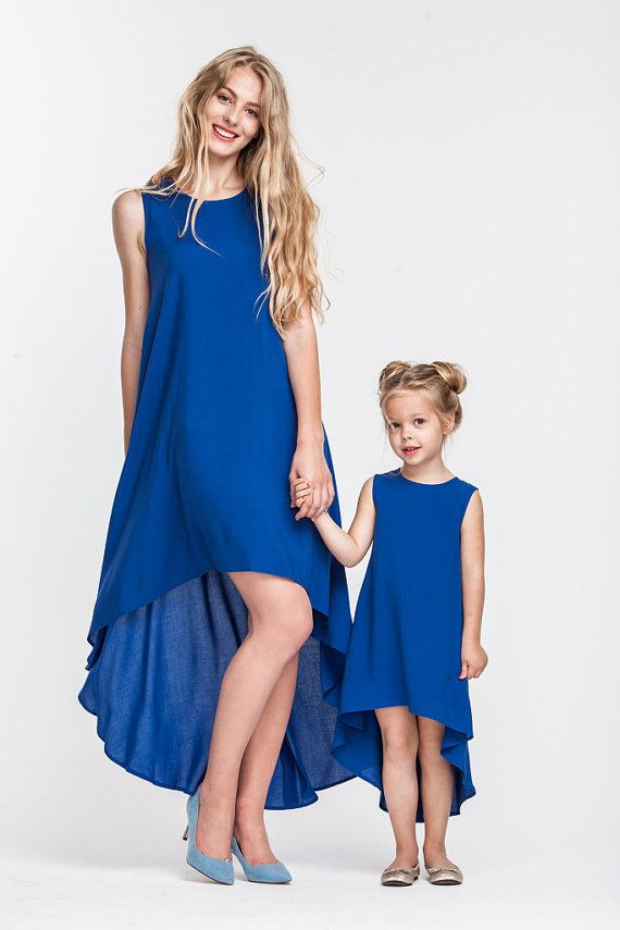 Stylish asymmetrical matching dresses for mother and daughter. Price is  shown for a set of 2 dresses - moms and daughters. Material - cott… 934ec72a8efa