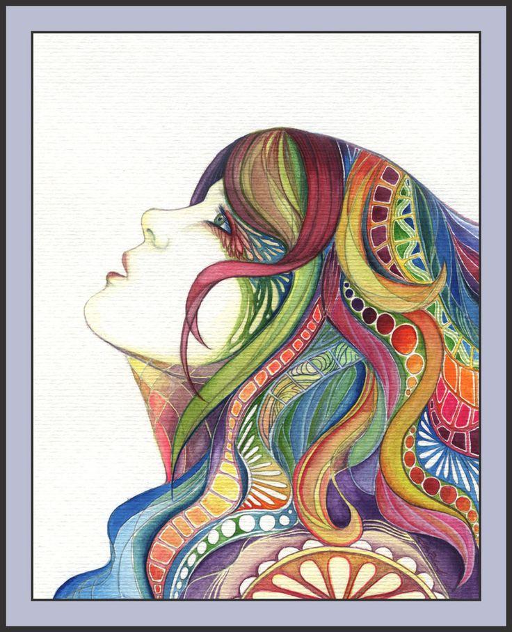 .Rainbows Hair, Hair Design, Inspiration, Hippie, Hair Art, 3Rd Grade Art, Flower Power, Colors Pencil, Colors Hair
