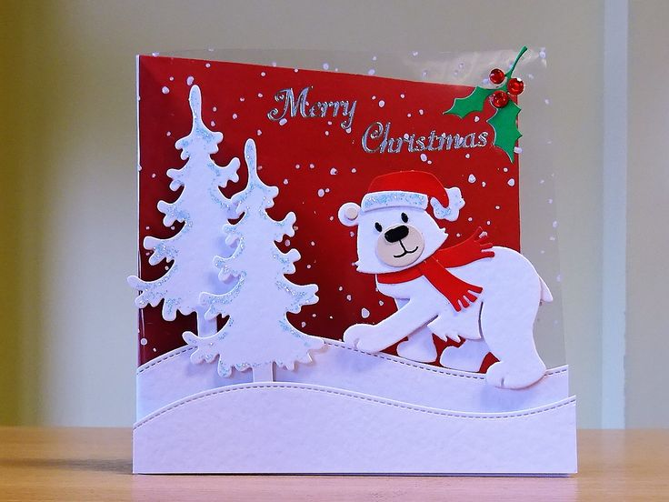 Christmas Card, Handmade - Marianne polar bear die. For more of my cards please visit CraftyCardStudio on Etsy.com.