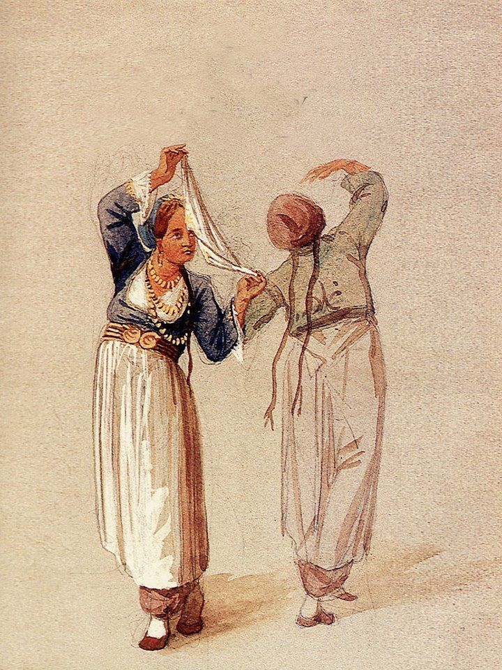 Duthoit Edmond - Δύο κορίτσια της Κύπρου χορεύουν 1862 - Two Cypriot girls dancing 1862