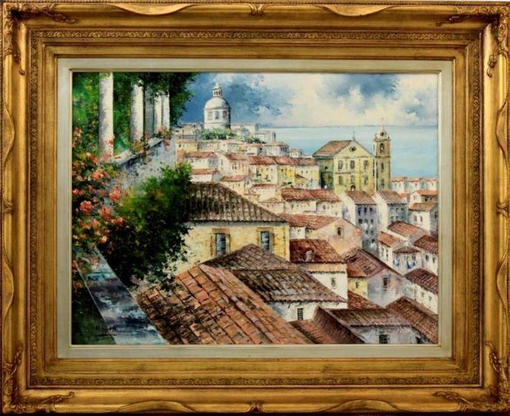 """Lote 5723 - M.Silva - Original - Pintura a óleo sobre tela, assinada, motivo """"Miradouro de Santa Luzia, Lisboa"""", com 60x81 cm (moldura dourada com 89x99 cm) - Price Estimate: € - $"""