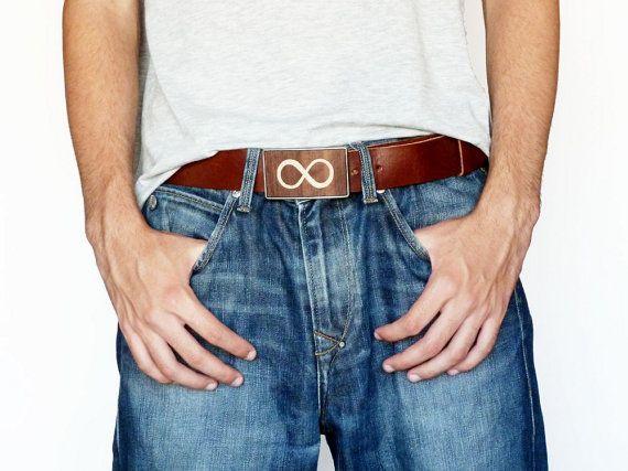 infinity belt. infinity sign wood belt buckle brown leather men cool /