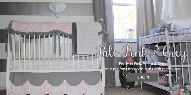 Pale Pink and Grey Baby Bedding. Custom Baby Girl Bedding. Custom Pink and Grey Nursery. Custom Exclusive Baby Bump Bedding Scallop Crib Skirt. Neutral Baby Girl Bedding. Baby Bump Bedding http://babybumpbedding.com/