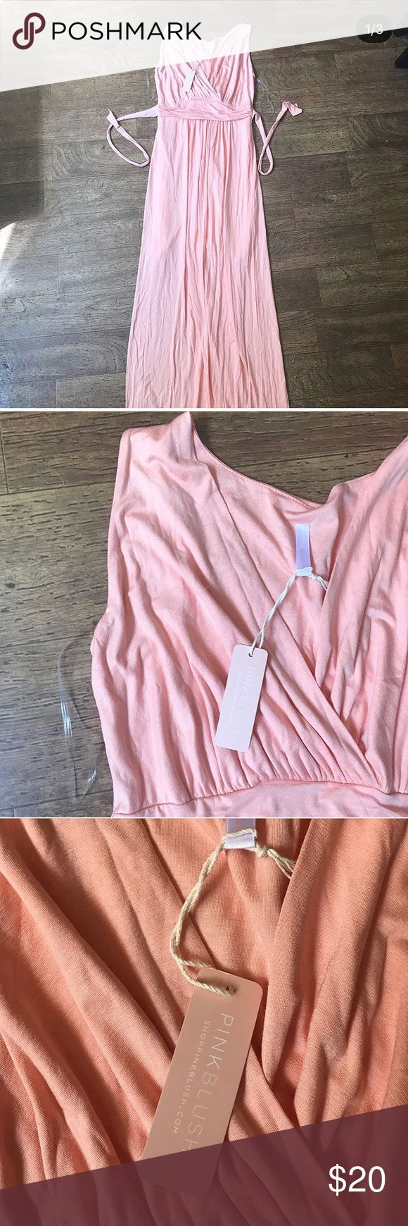 Pink Blush maternity maxi Never worn NWT. Beautiful color! Size small, would fit approx 4-6. Light pink/coral color. Pink Blush Maternity Dresses Maxi