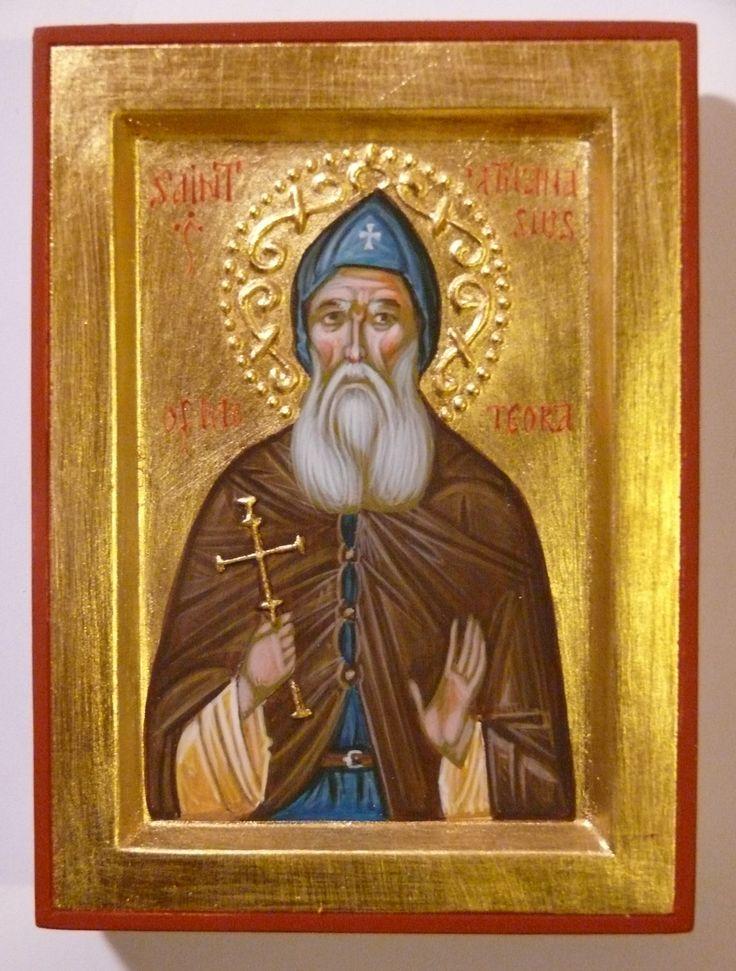 St Athanasius of Meteora hand-painted orthodox icon by Georgi Chimev