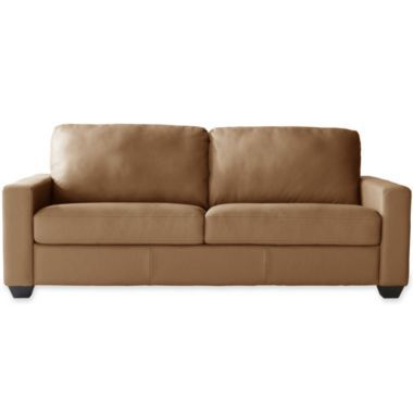 Closeout Possibilities Track Arm 59 Quot Leather Sofa Found