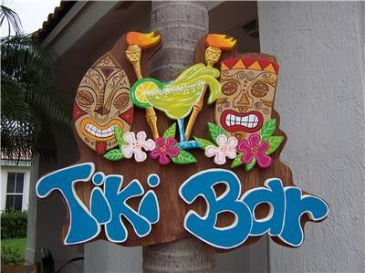 Tropical Tiki Torch Hibiscus Bar Home Decor  by DreamCreationsArt, $124.95