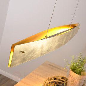 Goldfarbene LED-Hängeleuchte Malu, 100 cm 6722100